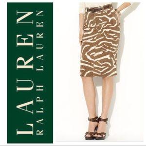 NWT Lauren Ralph Lauren Brown Zebra Denim Skirt 4P